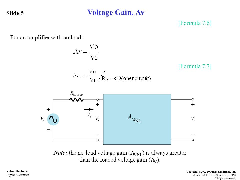how to calculate open circuit voltage gain